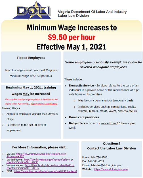 Virginia Approves State Minimum Wage effective May 1, 2021