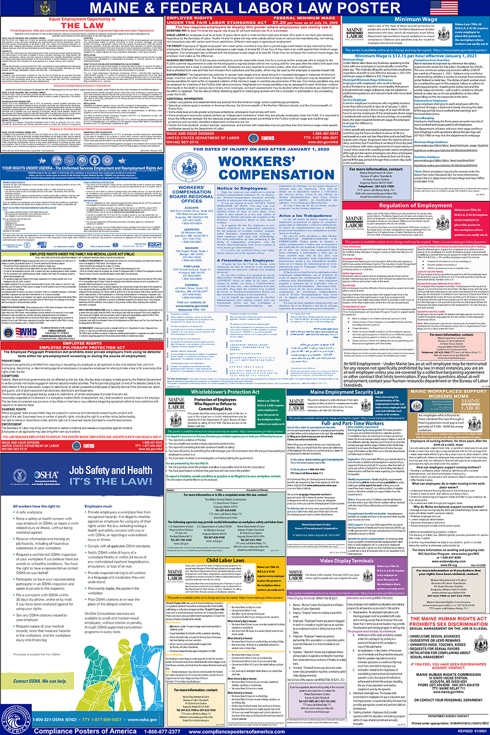 State and Federal Labor Law Posters for Workplace Compliance Maine ...