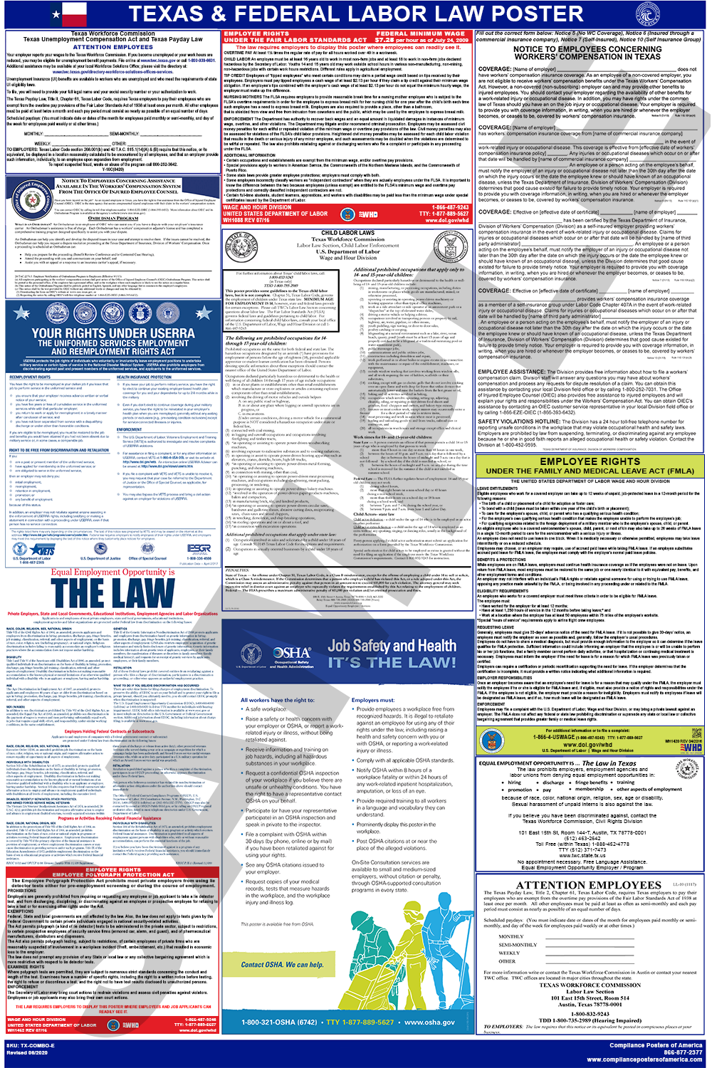 2020 Texas And Federal Labor Law Poster