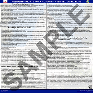 California RCFE Residents' Rights Poster - $14.95