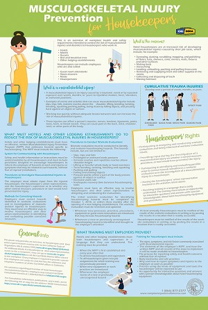 Hotel Housekeeping Musculoskeletal Injury Prevention Poster - $19.95
