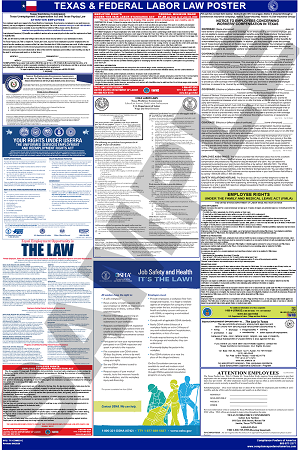 Texas and Federal Combined Labor Law Poster English
